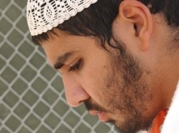 Yasser Esam Hamdi in Camp X-ray, Guantanamo Bay detention camp, Cuba, April 4, 2002