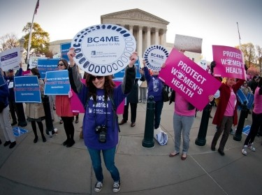 Women's health rally in front of the Supreme Court building