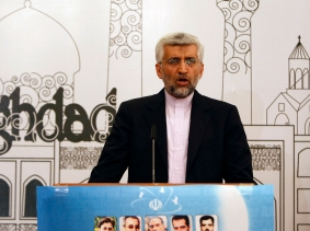 Iran's chief negotiator Saeed Jalili addresses a news conference after a meeting in Baghdad, May 24, 2012