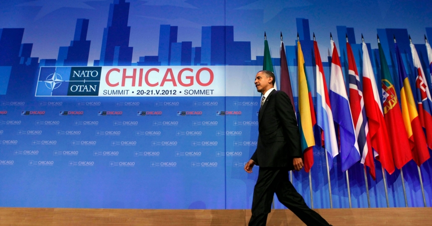 U.S. President Barack Obama walks out before he holds a news conference after the 2012 NATO Summit in Chicago at McCormick Place in Chicago, May 21, 2012