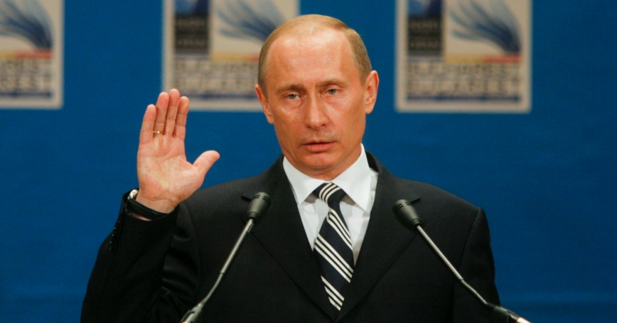 Russian President Vladimir Putin speaks during his news conference at the NATO summit in Bucharest April 4, 2008