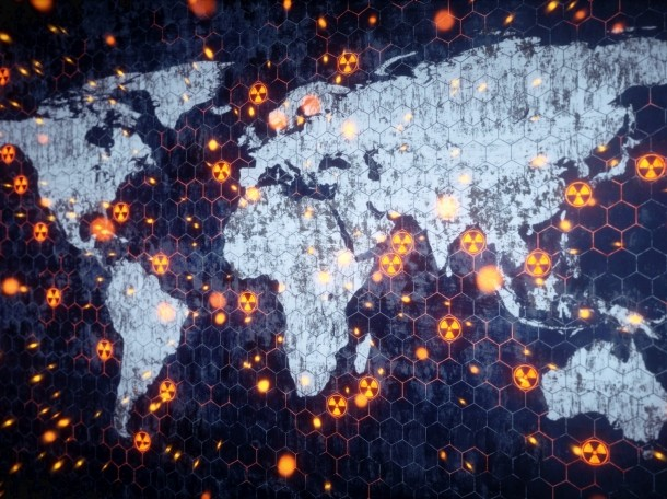 A world map outline with glowing nuclear warning symbols over it