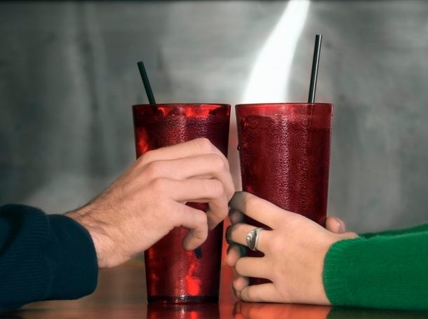 Two large tumblers full of soda