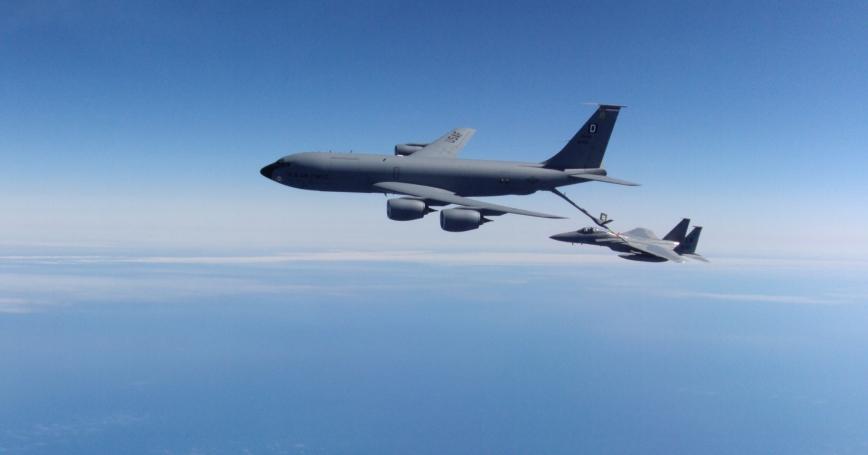 A KC-135 Stratotanker refuels an F-15C Eagle