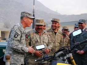 Gen. David Petraeus, commander of ISAF and commander of USFOR-A, visited Afghan National Civil Order Police (ANCOP) headquarters in Kabul, Afghanistan, December 14, 2010