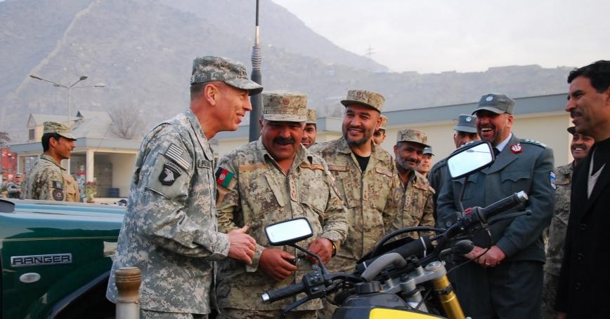 Gen. David Petraeus, commander of ISAF and commander of USFOR-A, visited Afghan National Civil Order Police (ANCOP) headquarters in Kabul, Afghanistan, December 14, 2010