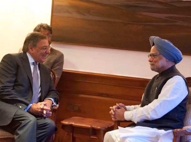 U.S. Secretary of Defense Leon E. Panetta meets with Indian Prime Minister, Manmohan Singh, in Delhi, India, June 5, 2012