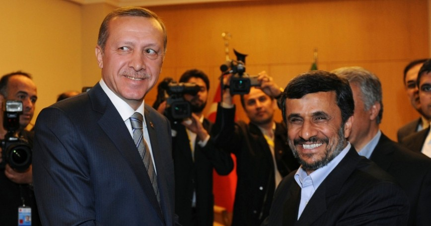 Iran's President Mahmoud Ahmadinejad shakes hands with Turkey's Prime Minister Recep Tayyip Erdogan in Istanbul May 9, 2011