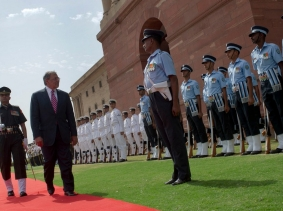 Secretary of Defense Leon E. Panetta passes and reviews members of the Indian military during an honors ceremony in Delhi, India