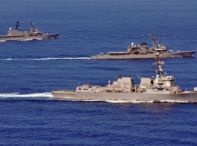 Formation drills during a passing exercise in the South China Sea