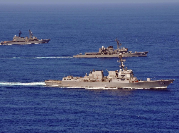 Dormation drills during a passing exercise in the South China Sea