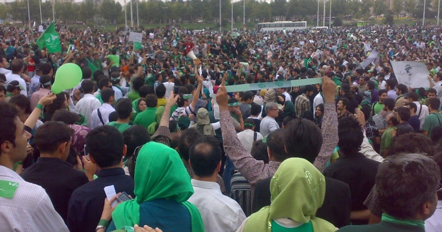 Mousavi supporters gathering in Azadi Square, Tehran/Wikimedia Commons