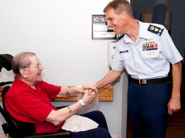 Veterans visiting veterans photo by PO1 Sherri Eng/U.S. Coast Guard
