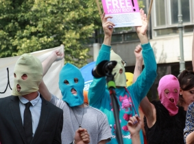"A ""Free Pussy Riot"" demonstration in Berlin, Germany."