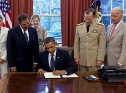 "President Barack Obama signs the certification stating the statutory requirements for repeal of ""Don't Ask, Don't Tell"" have been met"
