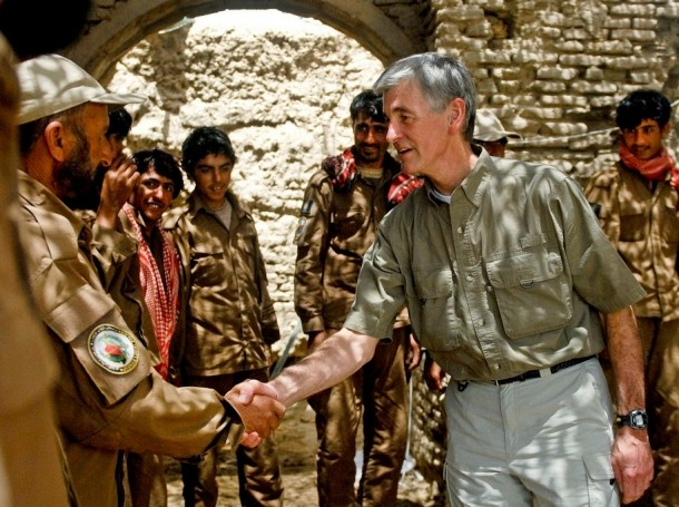 Secretary of the Army John McHugh meets with members of the Afghan Local Police in the village of Tabin