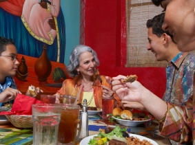 people eating at a Mexican-American restaurant