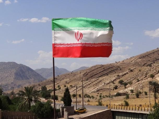 Iranian flag over archaeological site, Bishapur - Southwestern Iran