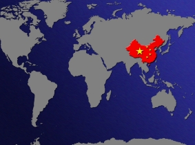 world map with China colored red like its flag