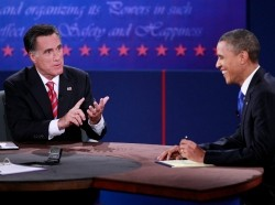 U.S. Republican presidential nominee Mitt Romney answers a question during the final U.S. presidential debate with President Barack Obama in Boca Raton, Florida, October 22, 2012