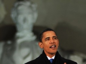 President Obama speaking at the Lincoln Memorial