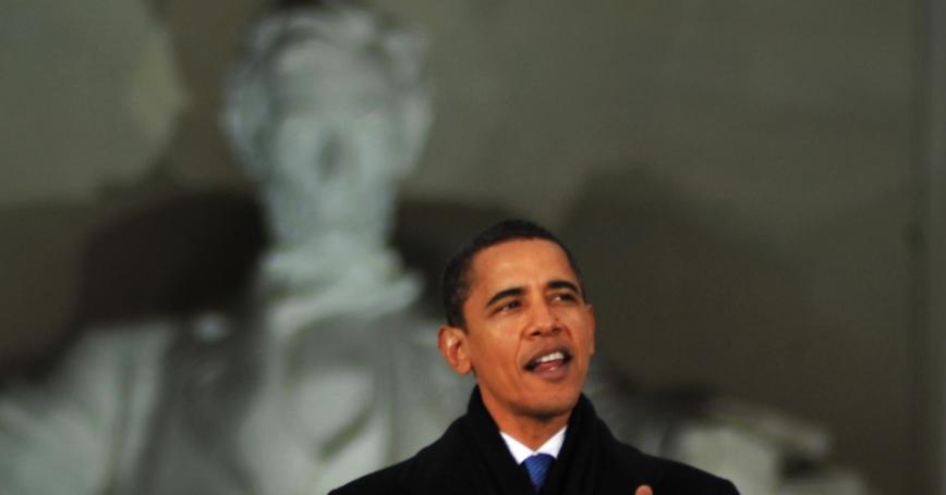 President Obama speaking at the Lincoln Memorial