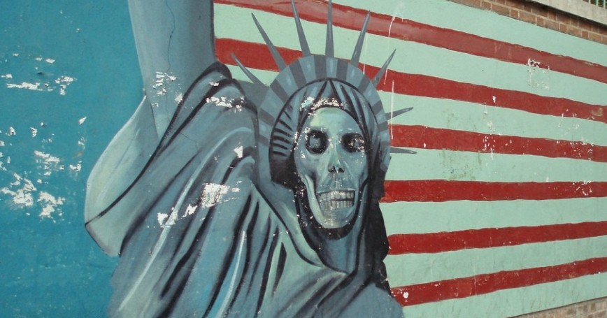 Mural of Statue of Liberty with a skull face, former U.S. Embassy, Tehran