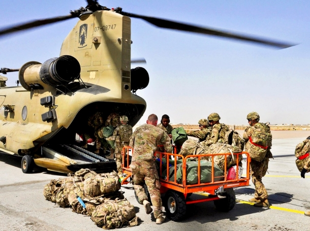 U.S. Army Soldiers prepare to board a CH-47 Chinook helicopter on Camp Marmal in Afghanistan, Sept. 9.
