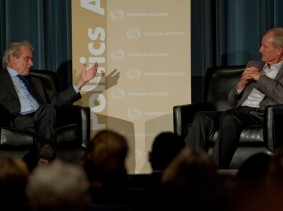 Sir Harold Evans and Adm. Dennis C. Blair at RAND's Politics Aside event