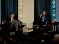 """Jonathan Weber interviews Eric Schmidt about """"The New Digital Age"""" Thursday, Nov. 15, 2012 at the RAND Politics Aside event in Culver City.(High Res Version)"""