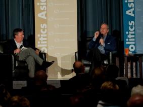 Jonathan Weber and Eric Schmidt at RAND's Politics Aside event