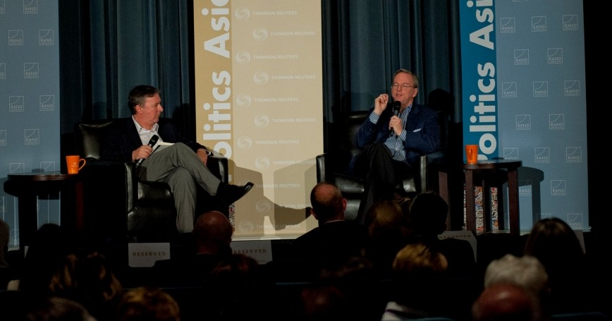Jonathan Weber and Eric Schmidt at RAND's Politics Aside event