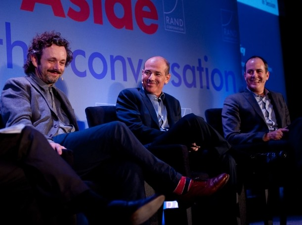 Michael Sheen, Howard Gordon, and David Nevins at RAND's Politics Aside event
