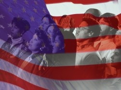 an American flag superimposed over people