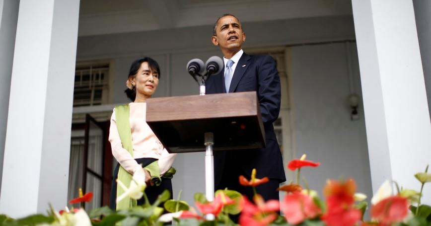 U.S. President Barack Obama speaks alongside Nobel Peace Prize laureate and long-time opposition leader Aung San Suu Kyi at her residence in Yangon, Myanmar, November 19, 2012