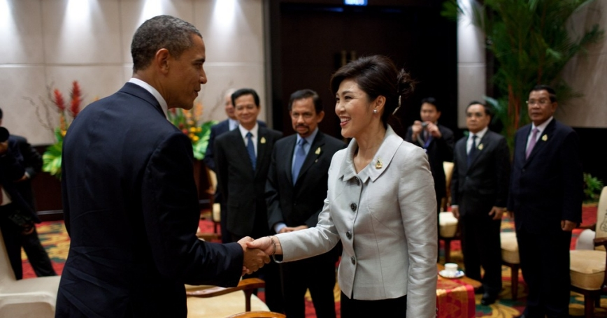 President Barack Obama greets Prime Minister Yingluck Shinawatra of Thailand in 2011