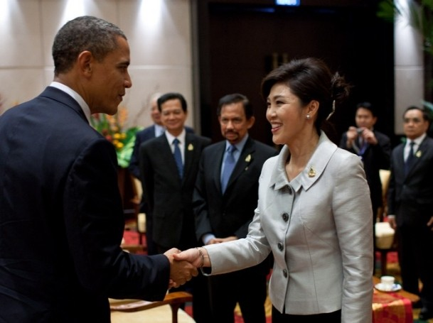 President Barack Obama greets Prime Minister Yingluck Shinawatra of Thailand during the ASEAN Summit in Nusa Dua, Bali, Indonesia, Nov. 18, 2011.