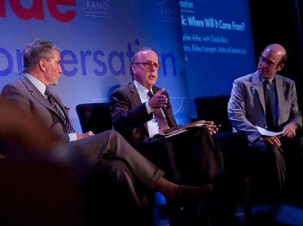 Brian Michael Jenkins, Stephen Roach, and Robert J. Lempert at RAND's Politics Aside 2012 event
