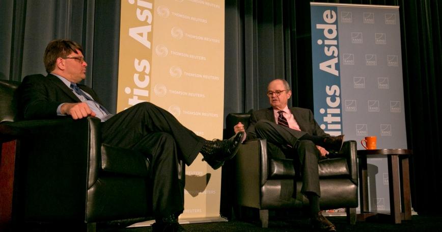 James Ledbetter and Amb. James Dobbins at RAND's Politics Aside event