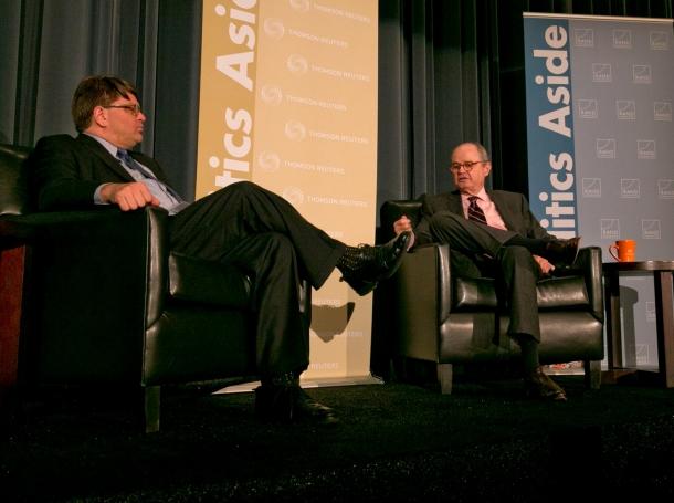 James Ledbetter and Amb. James Dobbins at RAND's 2012 Politics Aside event, photo by Diane Baldwin/RAND