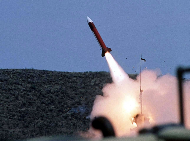A Patriot missile is launched by soldiers at McGregor Range near El Paso, Texas