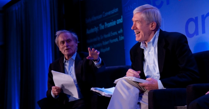 Sir Harold Evans and Undersecretary of State Robert Hormats at RAND's Politics Aside event