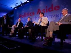 Sir Harold Evans, Undersecretary of State Robert Hormats, Stuart Hoffman, Nicholas Wapshott, and Edmund Phelps at RAND's Politics Aside 2012 event