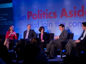 Sharon Begley, William Frist, Gail Wilensky, David Goldhill, and Arthur Kellermann at RAND's Politics Aside 2012 event