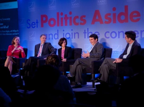 Sharon Begley, William Frist, Gail Wilensky, David Goldhill, and Arthur Kellermann at RAND's Politics Aside 2012 event