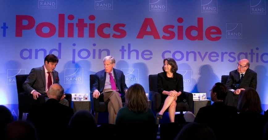 Rob Cox, Robert Wilmers, Sheila Bair, and Kenneth Feinberg at the RAND Politics Aside 2012 event