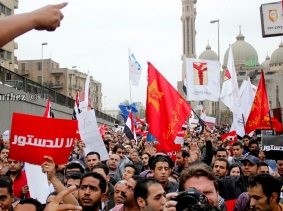Egyptians protest against the draft constitution and the constitutional decree announced by President Mohamed Morsi