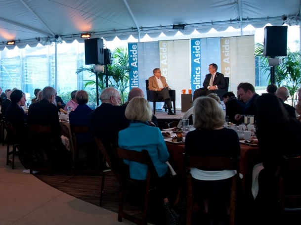RAND president and CEO Michael Rich and Ret. Gen. Peter Chiarelli at RAND's Politics Aside event