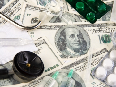 U.S. currency, pills, syringes, stethoscope