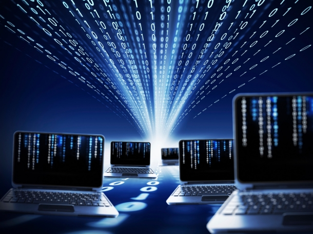 Binary code and laptops